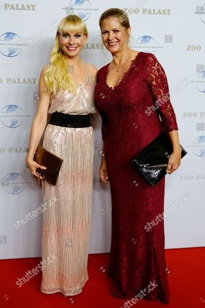 German TV presenters Susanne Klehn (L) and Maxi Biewer arrive on the red carpet of a gala on the occasion of the 100th birthday of German film producer Artur Brauner in Berlin, Germany, 08 September 2018. Artur 'Atze' Brauner celebrated his 100th birthday on 01 August 2018 in the company of his family. With the gala, the film world wants to celebrate the producer officially in the Zoo Palast cinema. Around 700 invited guests from all over Europe are expected, including many companions and prominent actors.