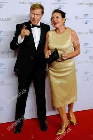 German journalists Ulrich Meyer (L) and wife Georgia Tornow arrive on the red carpet of a gala on the occasion of the 100th birthday of German film producer Artur Brauner in Berlin, Germany, 08 September 2018. Artur 'Atze' Brauner celebrated his 100th birthday on 01 August 2018 in the company of his family. With the gala, the film world wants to celebrate the producer officially in the Zoo Palast cinema. Around 700 invited guests from all over Europe are expected, including many companions and prominent actors.