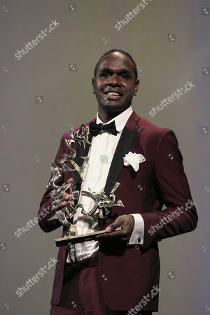Baykali Ganambarr receives the ' Marcello Mastroianni ' Award for Best New Young Actor or Actress for 'The Nightingale'