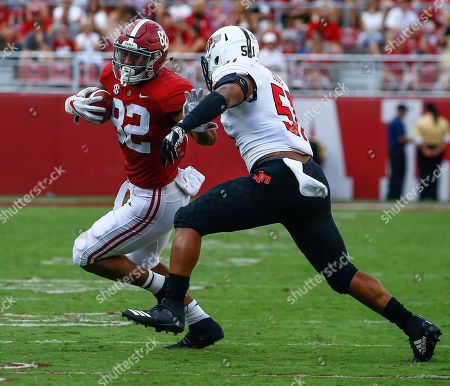Irv Smith Jr., Kirk Louis. Alabama tight end Irv Smith Jr. (82) tries to get around Arkansas State linebacker Kirk Louis (51) as he carries the ball during the second half of an NCAA college football game, in Tuscaloosa, Ala