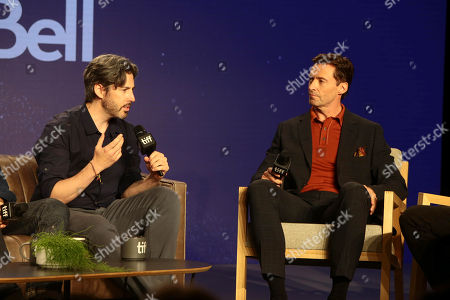 Jason Reitman, Writer/Director/Producer, and Hugh Jackman attend the 2018 Toronto International Film Festival press conference for Columbia Pictures' THE FRONT RUNNER at TIFF Bell Lightbox.