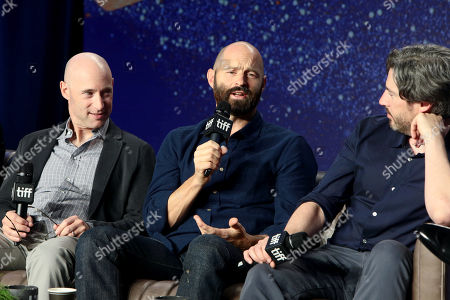 Matt Bai, Writer/Executive Producer, Jay Carson, Writer/Executive Producer, and Jason Reitman, Writer/Director/Producer, attend the 2018 Toronto International Film Festival press conference for Columbia Pictures' THE FRONT RUNNER at TIFF Bell Lightbox.