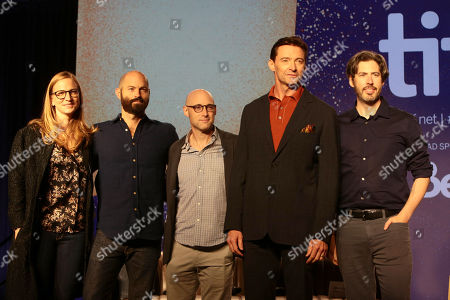 Helen Estabrook, Producer, Jay Carson, Writer/Executive Producer, Matt Bai, Writer/Executive Producer, Hugh Jackman and Jason Reitman, Writer/Director/Producer, attend the 2018 Toronto International Film Festival press conference for Columbia Pictures' THE FRONT RUNNER at TIFF Bell Lightbox.