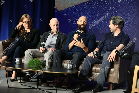Helen Estabrook, Producer, Matt Bai, Writer/Executive Producer, Jay Carson, Writer/Executive Producer, and Jason Reitman, Writer/Director/Producer, attend the 2018 Toronto International Film Festival press conference for Columbia Pictures' THE FRONT RUNNER at TIFF Bell Lightbox.
