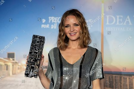 US director Jordana Spiro poses with her jury prize trophy during a photocall of the winners of the 44th Deauville American Film Festival, in Deauville, France, 08 September 2018. The festival runs from 31 August to 11 September.