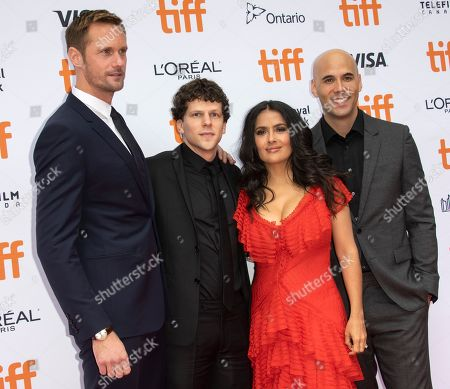 (L-R) Cast members Swedish actor Alexander Skarsgard, Mexican actress Salma Hayek and US actor Jesse Eisenberg and Canadian director Kim Nguyen arrive for the screening of the movie 'The Hummingbird Project' during the 43rd annual Toronto International Film Festival (TIFF) in Toronto, Canada, 08 September 2018. The festival runs 06 to 16 September.