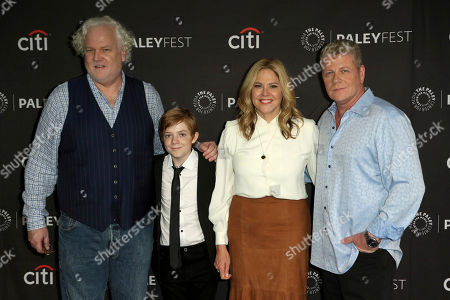 """Tim Doyle, Jack Gore, Mary McCormack, Michael Cudlitz. Tim Doyle, from left, Jack Gore, Mary McCormack and Michael Cudlitz attend the PaleyFest Fall TV Previews of """"The Kids Are Alright"""" at The Paley Center for Media, in Beverly Hills, Calif"""