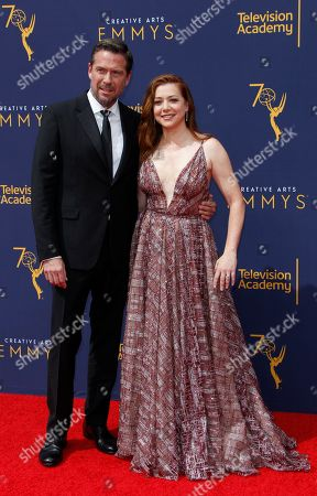 Alyson Hannifin (R) and Alexis Denisof (L) arrive for the 2018 Creative Arts Emmy Awards at the Microsoft Theater in Los Angeles, California, USA, 08 September 2018. The Creative Arts Emmy Awards honor excellence in Television technical categories such as makeup, casting direction, costume design, editing and cinematography. The 70th Primetime Emmy Awards Ceremony will take place on 17 September 2018.
