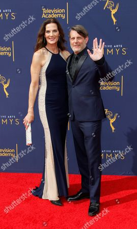 Adam Nimoy (R) and Terry Farrell (L)  arrive for the 2018 Creative Arts Emmy Awards at the Microsoft Theater in Los Angeles, California, USA, 08 September 2018. The Creative Arts Emmy Awards honor excellence in Television technical categories such as makeup, casting direction, costume design, editing and cinematography. The 70th Primetime Emmy Awards Ceremony will take place on 17 September 2018.