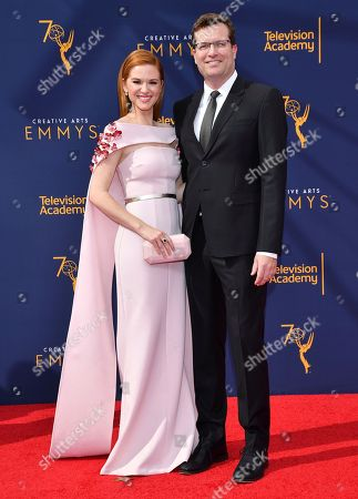 Sarah Drew, Peter Lanfer. Sarah Drew, left and Peter Lanfer arrive at night one of the Television Academy's 2018 Creative Arts Emmy Awards at the Microsoft Theater, in Los Angeles