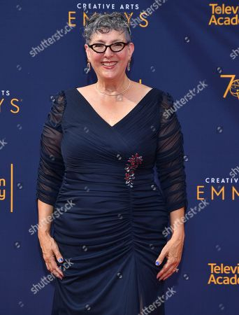 Lynda Weinman arrives at night one of the Television Academy's 2018 Creative Arts Emmy Awards at the Microsoft Theater, in Los Angeles