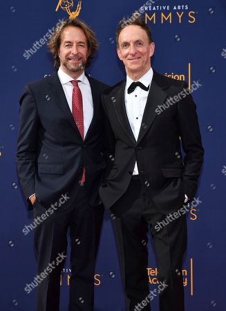 Stock Picture of Jeff Danna, Mychael Danna. Jeff Danna, left, and Mychael Danna arrive at night one of the Television Academy's 2018 Creative Arts Emmy Awards at the Microsoft Theater, in Los Angeles