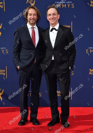 Stock Photo of Jeff Danna, Mychael Danna. Jeff Danna, left, and Mychael Danna arrive at night one of the Television Academy's 2018 Creative Arts Emmy Awards at the Microsoft Theater, in Los Angeles