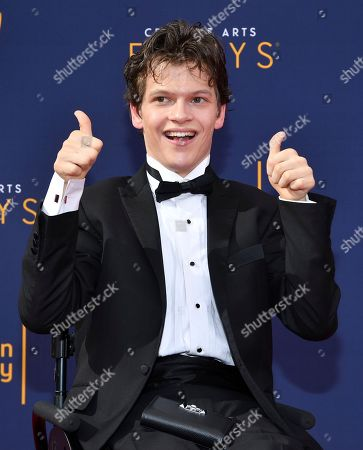 Micah Fowler arrives at night one of the Television Academy's 2018 Creative Arts Emmy Awards at the Microsoft Theater, in Los Angeles