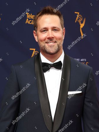 Stock Photo of Jake Zim arrives at night one of the Television Academy's 2018 Creative Arts Emmy Awards at the Microsoft Theater, in Los Angeles
