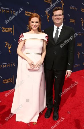 Sarah Drew, Peter Lanfer. Sarah Drew, left, and Peter Lanfer arrive at night one of the Television Academy's 2018 Creative Arts Emmy Awards at the Microsoft Theater, in Los Angeles