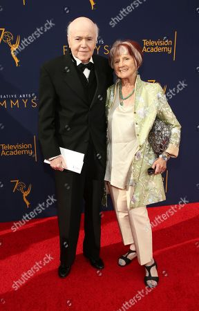 Walter Koenig, left, arrives at night one of the Television Academy's 2018 Creative Arts Emmy Awards at the Microsoft Theater, in Los Angeles