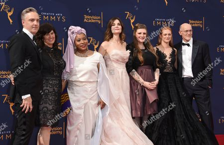 """Betsy Brandt, Marin Ireland, Melissa Mays, Nayyirah Shariff, Neil Meron. The team from """"Flint"""" arrives at night one of the Creative Arts Emmy Awards at The Microsoft Theater, in Los Angeles"""