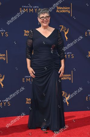 Stock Image of Lynda Weinman arrives at night one of the Creative Arts Emmy Awards at The Microsoft Theater, in Los Angeles