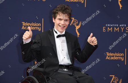Micah Fowler arrives at night one of the Creative Arts Emmy Awards at The Microsoft Theater, in Los Angeles