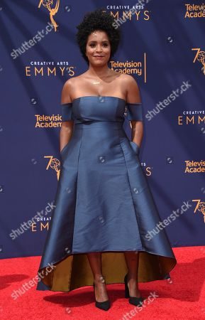 Stock Picture of Rachel Holder arrives at night one of the Creative Arts Emmy Awards at The Microsoft Theater, in Los Angeles
