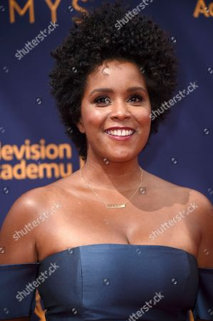 Rachel Holder arrives at night one of the Creative Arts Emmy Awards at The Microsoft Theater, in Los Angeles