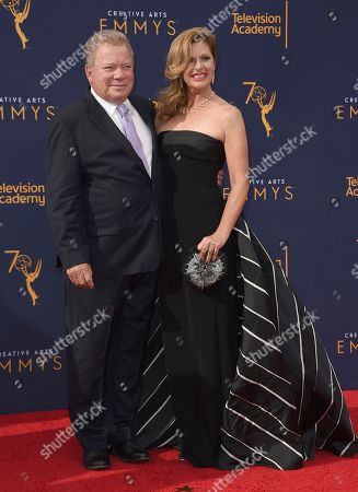 William Shatner, Elizabeth Shatner. William Shatner, left, and Elizabeth Shatner arrive at night one of the Creative Arts Emmy Awards at The Microsoft Theater, in Los Angeles