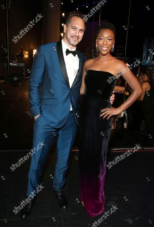 Thomas Sadoski, Samira Wiley. Thomas Sadoski, left, and Samira Wiley attend night one of the Television Academy's 2018 Creative Arts Emmy Awards at the Microsoft Theater, in Los Angeles