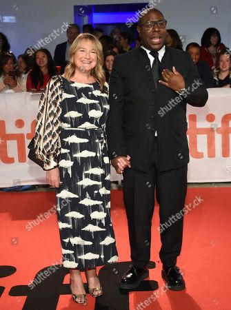 "Bianca Stigter, Steve McQueen. Bianca Stigter, left, and director Steve McQueen attend the premiere for ""Widows"" on day 3 of the Toronto International Film Festival at Roy Thomson Hall, in Toronto"