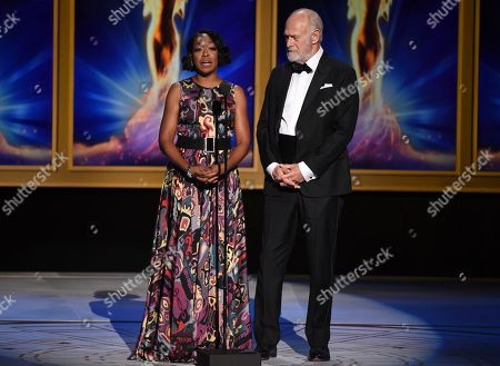 Tichina Arnold, Gerald McRaney. Tichina Arnold, left, and Gerald McRaney during night one of the Television Academy's 2018 Creative Arts Emmy Awards at the Microsoft Theater, in Los Angeles