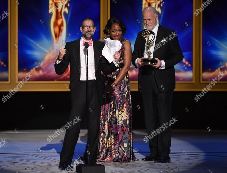 Brian A. Kates, Tichina Arnold, Gerald McRaney. Brian A. Kates, left, Tichina Arnold, and Gerald McRaney during night one of the Television Academy's 2018 Creative Arts Emmy Awards at the Microsoft Theater, in Los Angeles