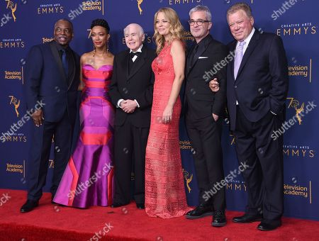 """LeVar Burton, Sonequa Martin-Green, Walter Koenig, Jeri Ryan, Alex Kurtzman, William Shatner. LeVar Burton, from left, Sonequa Martin-Green, Walter Koenig, Jeri Ryan, Alex Kurtzman and William Shatner pose in the press room after accepting the Governors Award for """"Star Trek"""" during night one of the Creative Arts Emmy Awards at The Microsoft Theater, in Los Angeles"""