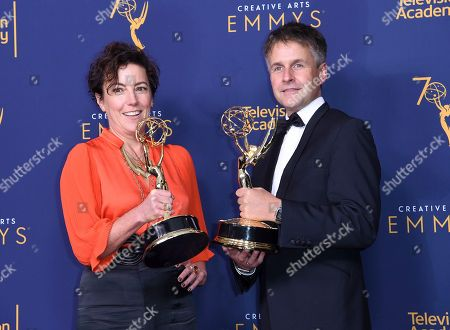 """Nina Gold and Robert Sterne accept the award for outstanding casting for a drama series for """"The Crown. Nina Gold, left, and Robert Sterne winners of the award for outstanding casting for a drama series for """"The Crown"""" pose in the press room during night one of the Creative Arts Emmy Awards at The Microsoft Theater, in Los Angeles"""