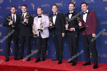 """Ben Winston, Rob Crabbe, James Corden, Adam Abramson, Ryan McKee, David Lamattina. From left; Adam Abramson, Ben Winston, James Corden, Rob Crabbe, Ryan McKee, and David Lamattina winners of the award for outstanding short-form comedy or drama series for """"James Corden's Next James Corden"""" pose in the press room during night one of the Creative Arts Emmy Awards at The Microsoft Theater, in Los Angeles"""