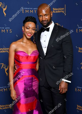 Sonequa Martin-Green, Kenric Green. Sonequa Martin-Green, left, and Kenric Green pose for a portrait during night one of the Television Academy's 2018 Creative Arts Emmy Awards at the Microsoft Theater, in Los Angeles