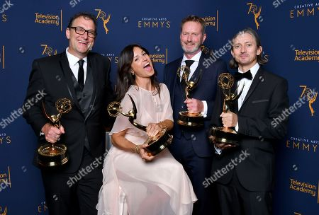"""Mathew Waters, Onnalee Blank, Richard Dyer Ronan Hill. Mathew Waters, from left, Onnalee Blank, Richard Dyer and Ronan Hill, winners of the award for outstanding sound mixing for a comedy or drama series (one-hour) for """"Game of Thrones - Beyond The Wall pose for a portrait during night one of the Television Academy's 2018 Creative Arts Emmy Awards at the Microsoft Theater, in Los Angeles"""