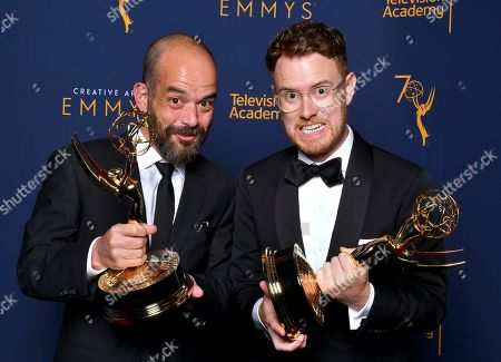 Christian Sprenger, Adriano Goldman. Adriano Goldman, left, and Christian Sprenger, pose for a portrait during night one of the Television Academy's 2018 Creative Arts Emmy Awards at the Microsoft Theater, in Los Angeles