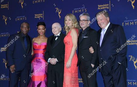 Stock Image of LaVar Burton (L), Sonequa Martin-Green (2-L), Walter Koenig (3-L), Jeri Ryan (3-R), Alex Kurtzman (2-R) and William Shatner (R) pose in the photo room at the Microsoft Theater in Los Angeles, California, USA, 08 September 2018 (issued 09 September 2018). The Creative Arts Emmy Awards honor excellence in Television technical categories such as makeup, casting direction, costume design, editing and cinematography. The 70th Primetime Emmy Awards Ceremony will take place on 17 September 2018.