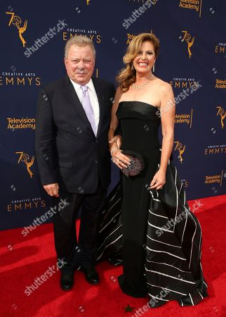 Stock Photo of William Shatner, Elizabeth Shatner. William Shatner, left, and Elizabeth Shatner arrive at night one of the Television Academy's 2018 Creative Arts Emmy Awards at the Microsoft Theater, in Los Angeles