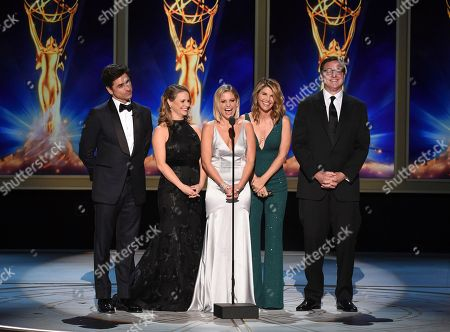 John Stamos, Andrea Barber, Candace Cameron-Bure, Lori Loughlin, Bob Saget. John Stamos, from left, Andrea Barber, Candace Cameron-Bure, Lori Loughlin and Bob Saget during night one of the Television Academy's 2018 Creative Arts Emmy Awards at the Microsoft Theater, in Los Angeles