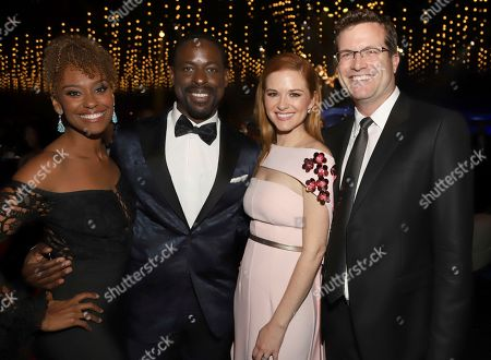 Ryan Michelle Bathe, Sterling K. Brown, Sarah Drew, Peter Lanfer. Ryan Michelle Bathe, left, Sterling K. Brown, Sarah Drew, and Peter Lanfer attend the Governors Ball during night one of the Television Academy's 2018 Creative Arts Emmy Awards at the Microsoft Theater, in Los Angeles