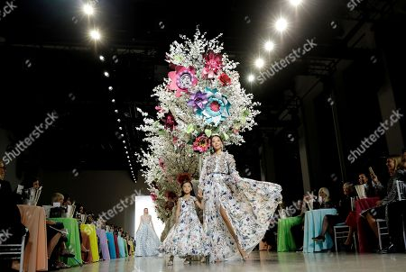 A models exhibit creations by Badgley Mischka at New York Fashion Week Spring 2019 in New York, New York, USA, 08 September 2018. James Mischka and Mark Badgley are celebrating the 30th anniversary of their fashion label.