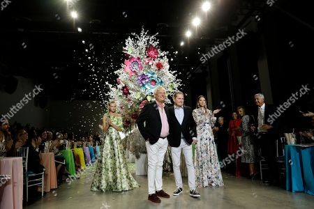 US fashion designers Mark Badgley (C, left) and James Mischka (C, right) greet the crowd after their fashion show at New York Fashion Week Spring 2019 in New York, New York, USA, 08 September 2018. James Mischka and Mark Badgley are celebrating the 30th anniversary of their fashion label.