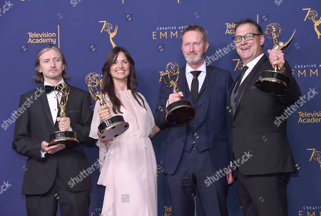 """Ronan Hill, Onnalee Blank, Richard Dyer, Mathew Waters. From left; Ronan Hill, Onnalee Blank, Richard Dyer, and Mathew Waters winners of the award for outstanding sound mixing for a comedy or drama series (one-hour) for """"Game of Thrones - Beyond The Wall"""" pose in the press room during night one of the Creative Arts Emmy Awards at The Microsoft Theater, in Los Angeles"""