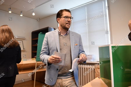 Jimmie Akesson, leader of the right-wing nationalist Sweden Democrats (SD) party, prepares to cast his ballot at a polling station in the Stockholm City Hall, in Stockholm, Sweden 09 September 2018. About 7.5 million Swedes are eligible to vote in the country?s general elections on 09 September that are expected to see huge gains for the far-right Sweden Democrats (SD) party and losses for the ruling coalition of Social Democrtas and the Green party. The previous election campaign has been dominated by a controversial debate over the country?s immigration policy.