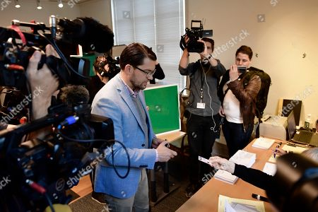 Jimmie Akesson (C), leader of the right-wing nationalist Sweden Democrats (SD) party, registers to get his ballot papers at a polling station in the Stockholm City Hall, in Stockholm, Sweden 09 September 2018. About 7.5 million Swedes are eligible to vote in the country?s general elections on 09 September that are expected to see huge gains for the far-right Sweden Democrats (SD) party and losses for the ruling coalition of Social Democrtas and the Green party. The previous election campaign has been dominated by a controversial debate over the country?s immigration policy.