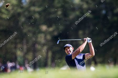 Charl Schwartzel of South Africa watches his shot during the fourth and final round of the Omega European Masters Golf Tournament in Crans-Montana, Switzerland, 09 September 2018.