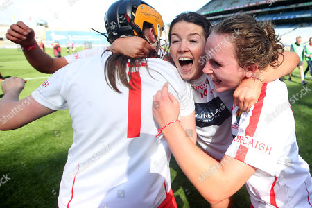 Cork vs Down. Cork's Amy Lee, Maeve McCarthy and Lauren Callanan celebrate after the game