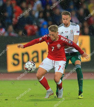 Chris Gunter of Wales and Viktor Fischer of Denmark