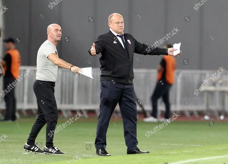 Latvia's head coach Mixu Paatelainen (R) reacts during the UEFA Nations league, league D group 1 soccer match between Georgia and Latvia at the Boris Paichadze Dinamo Arena in Tbilisi, Georgia, 09 September 2018.